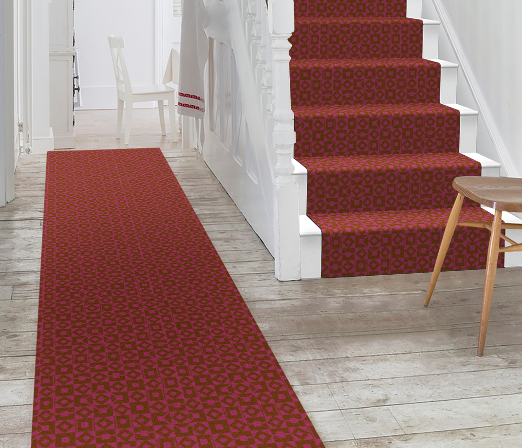 Lucienne Day Authentic Squares and Diamonds Runner 7086 Stair Runner thumb