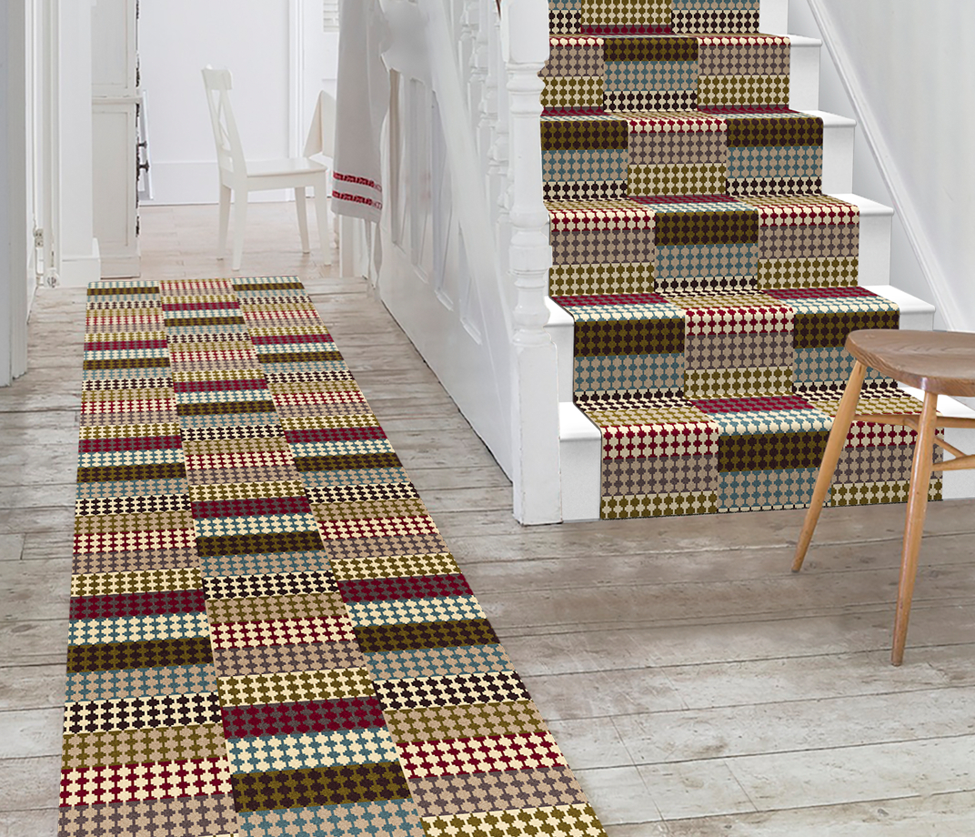 Quirky Patch Strip Red Runner by Margo Selby 7091 Stair Runner thumb