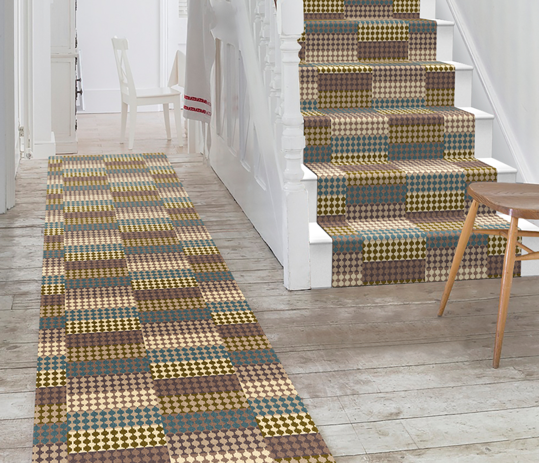 Quirky Patch Strip Blue Runner by Margo Selby 7092 Stair Runner thumb