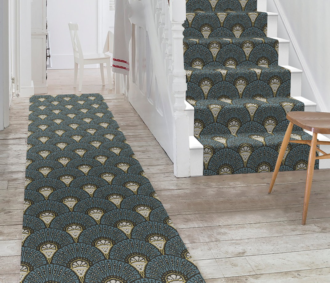 Quirky Deco Teal Runner by Divine Savages 7097 Stair Runner thumb
