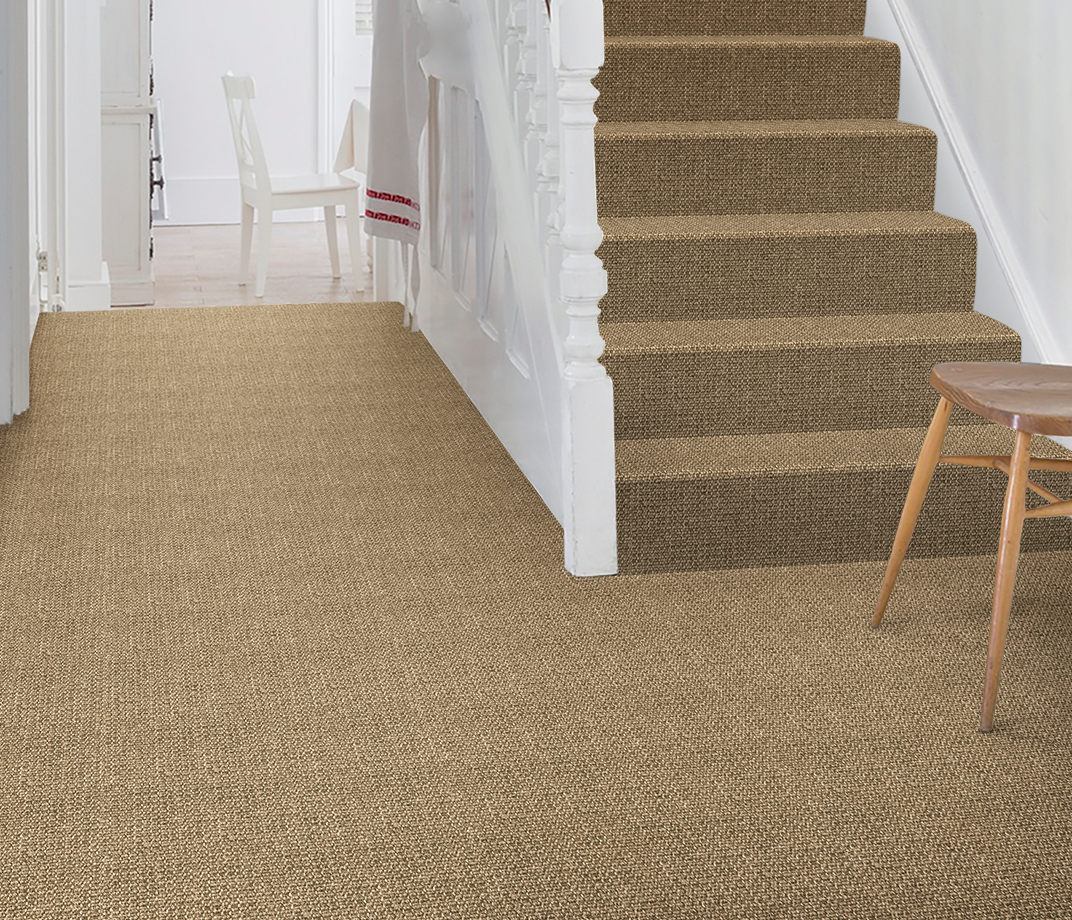 No Bother Sisal Super Bouclé Nether Wallop Carpet 1453 on Stairs thumb