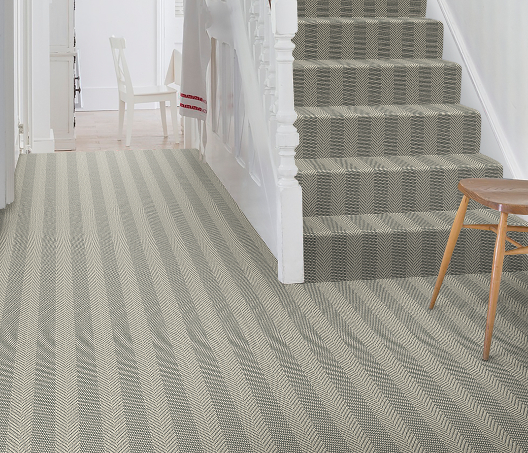 Wool Iconic Herringstripe Behrs Carpet 1564 on Stairs thumb