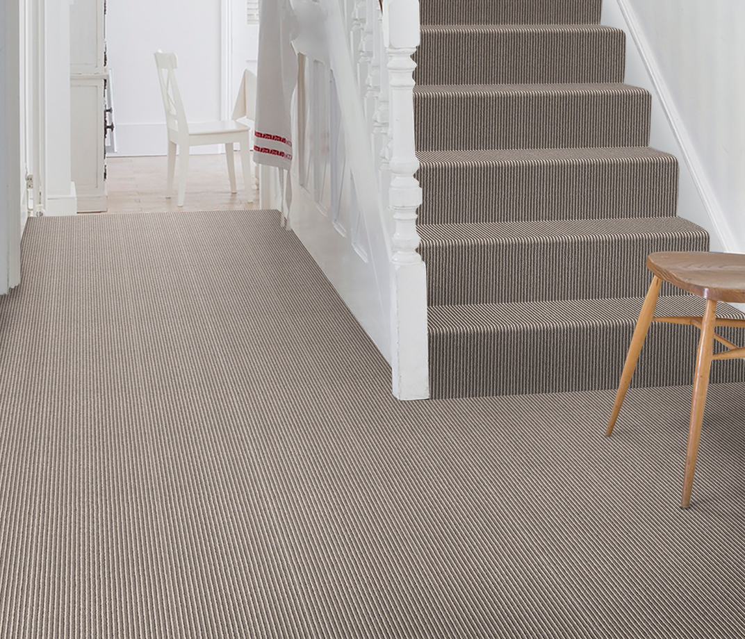 Wool Pinstripe Sable Olive Pin Carpet 1860 on Stairs thumb