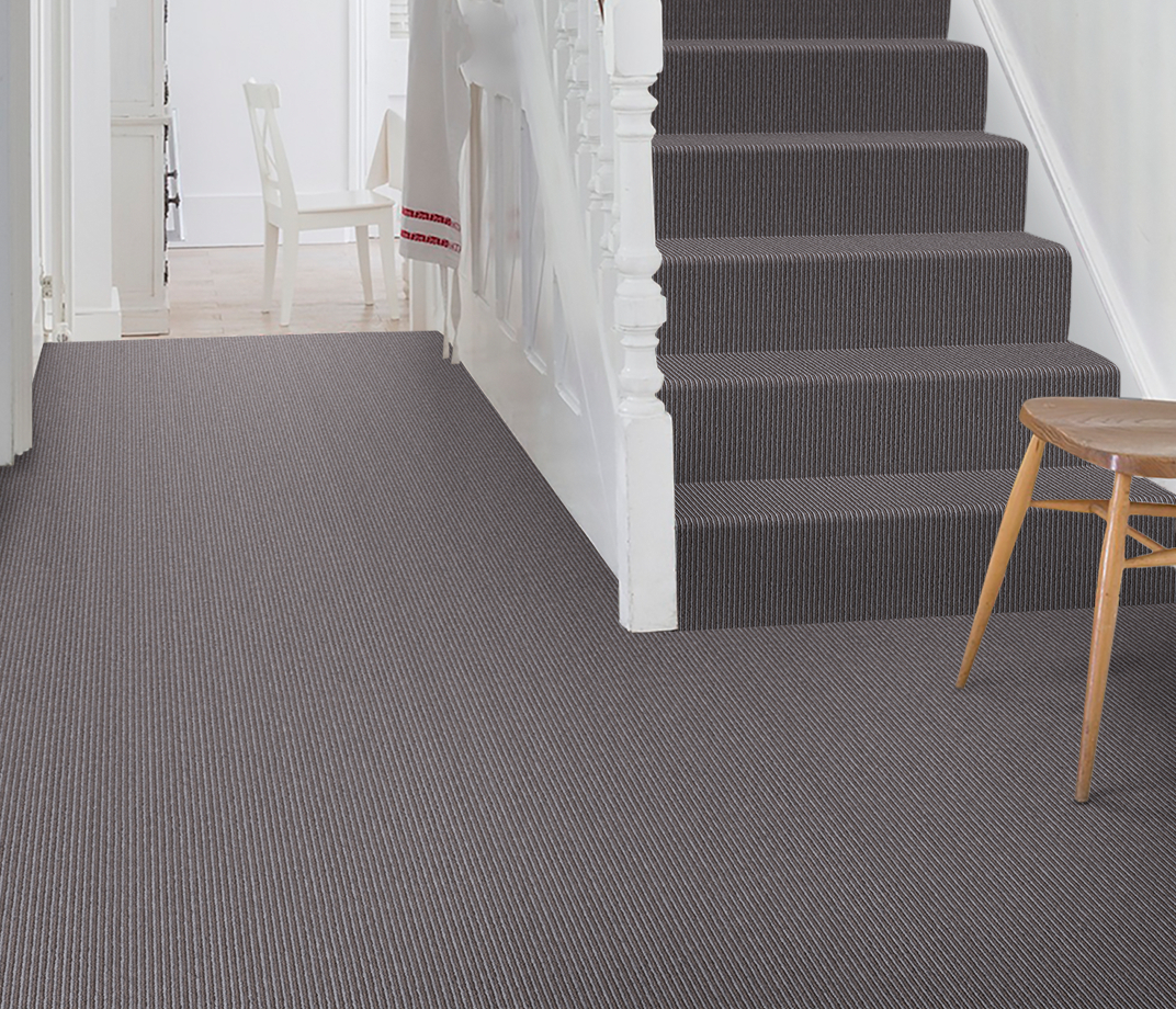 Wool Pinstripe Mineral Sable Pin Carpet 1864 on Stairs thumb