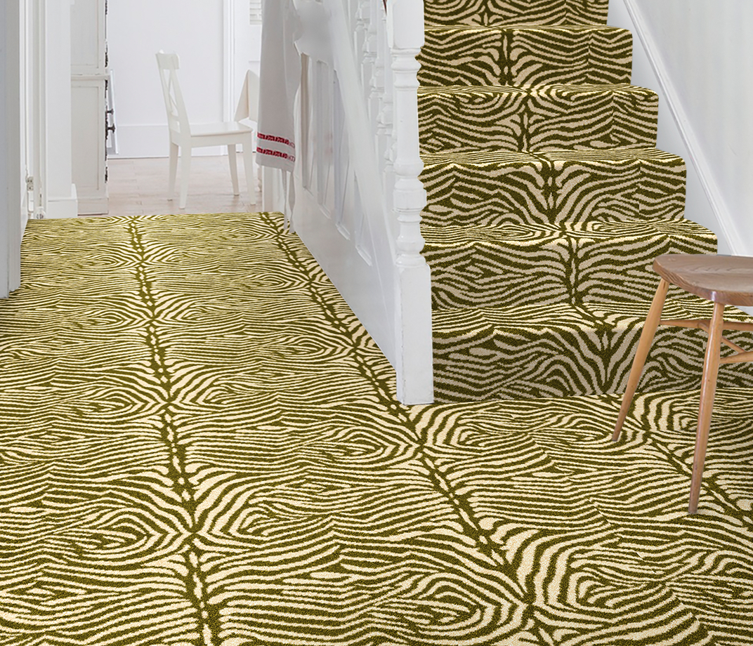 Quirky B Zebo Moss Carpet 7122 on Stairs thumb