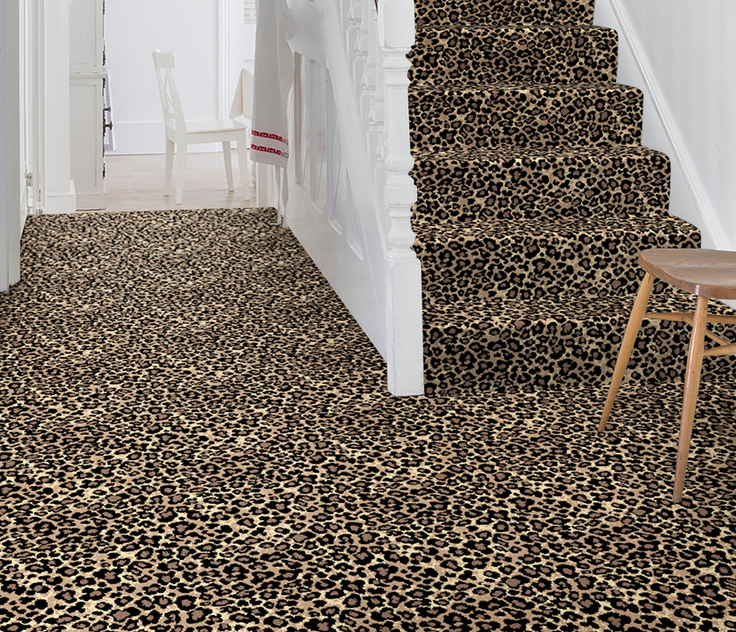Quirky B Leopard Java Carpet 7125 on Stairs thumb