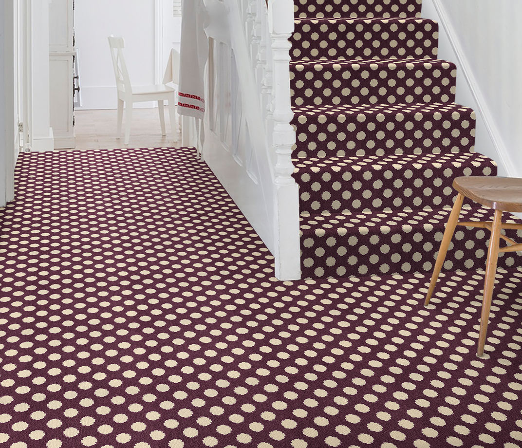 Quirky B Spotty Damson Carpet 7141 on Stairs thumb