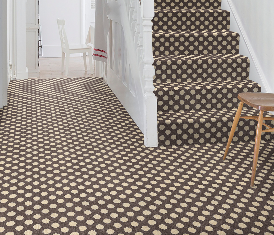Quirky B Spotty Grey Patterned Carpet 7143 on Stairs thumb