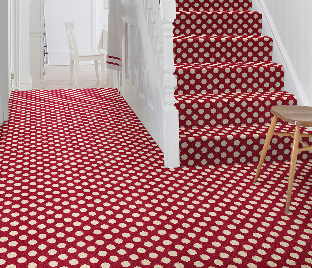 Quirky B Spotty Red Carpet 7144 on Stairs thumb