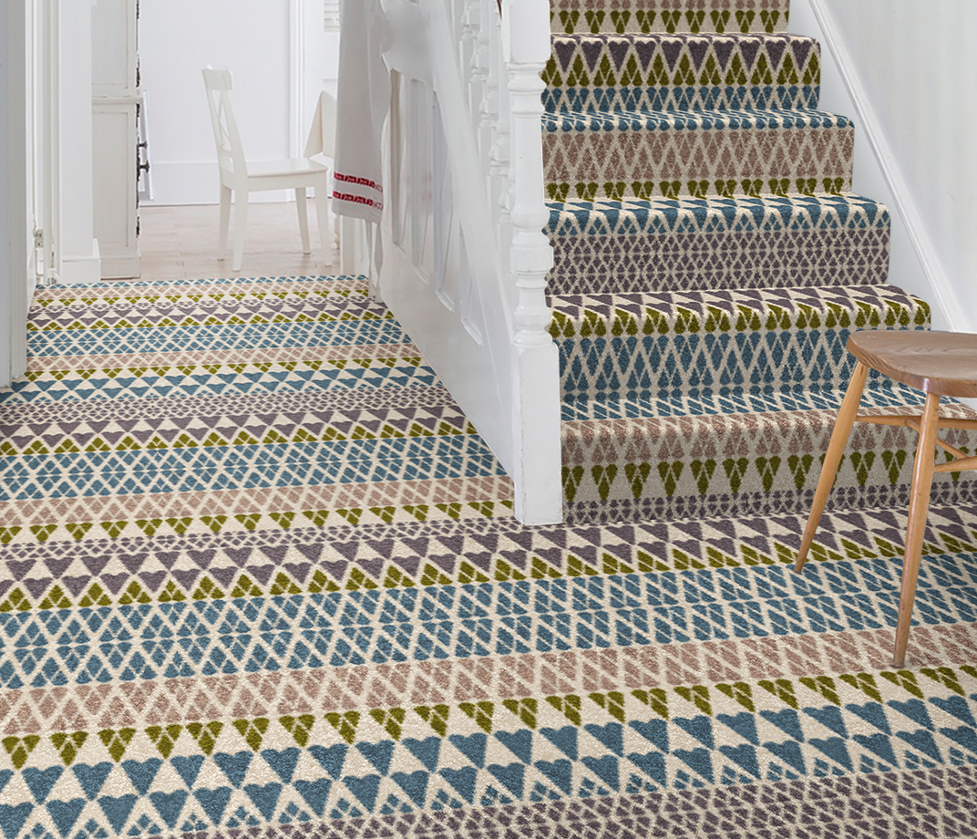 Quirky B Margo Selby Fair Isle Annie Carpet 7210 on Stairs thumb