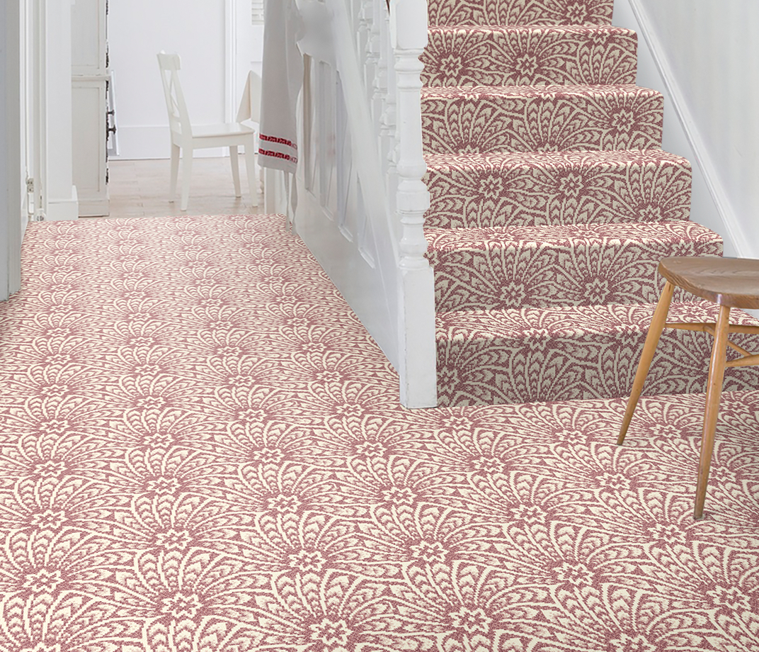 Quirky B Liberty Fabrics Capello Shell Coral Carpet 7502 on Stairs thumb