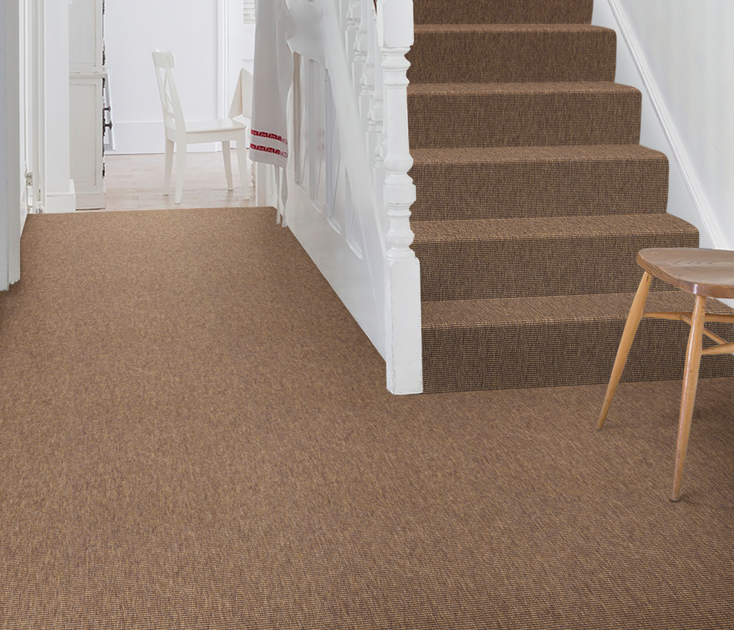 Anywhere Bouclé Copper Carpet 8001 on Stairs thumb