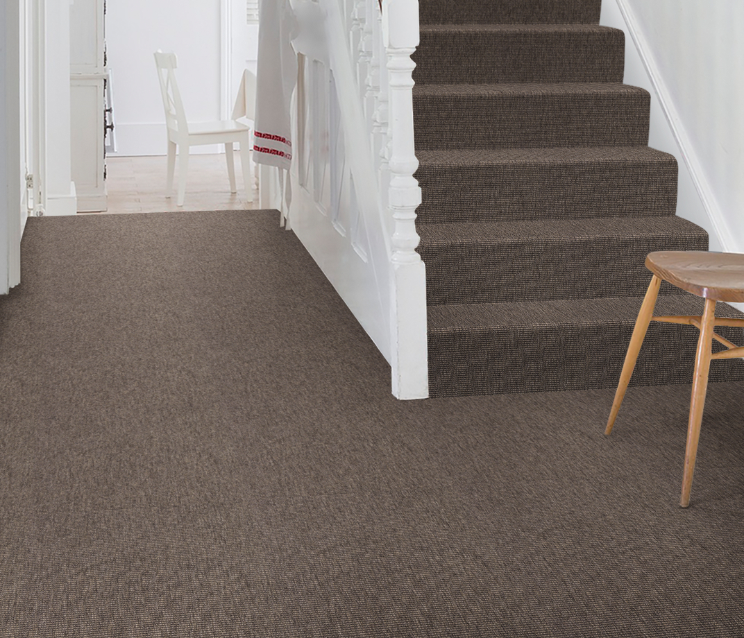 Anywhere Bouclé Cocoa Carpet 8002 on Stairs thumb