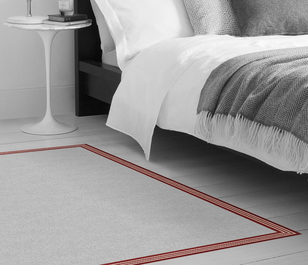 Stripes Thick Red Border  in Bedroom