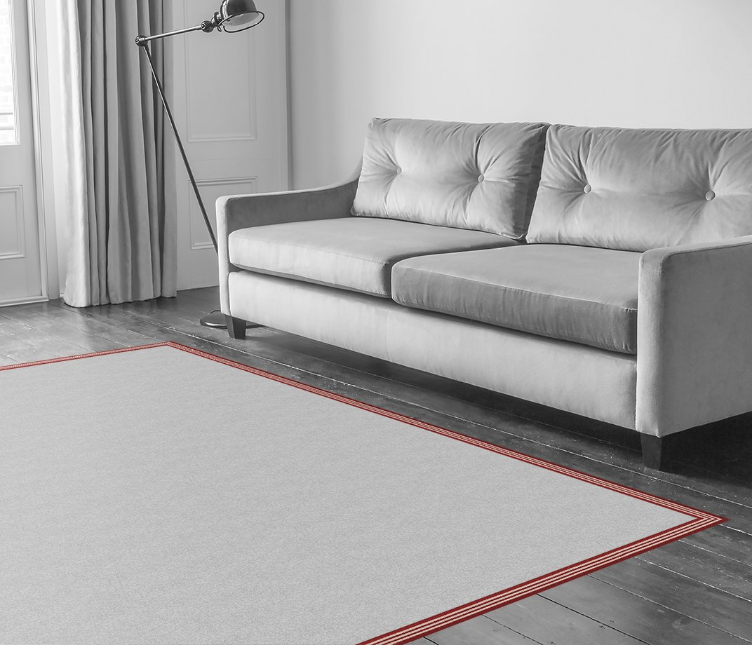 Stripes Thick Red Border  in Living Room
