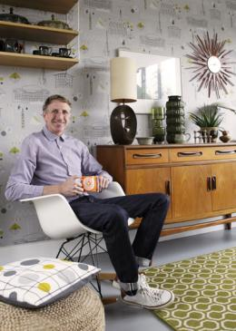Mark Hampshire Make Me A Rug: Quirky B Honeycomb Moss (7112) with whipped edge lifestyle shot 1