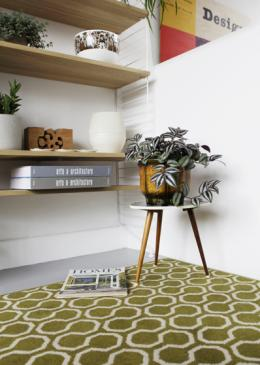 Mark Hampshire Make Me A Rug: Quirky B Honeycomb Moss (7112) with whipped edge lifestyle shot 5
