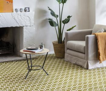 Floor Gazing Lounge - Quirky B Honeycomb Moss patterned carpet