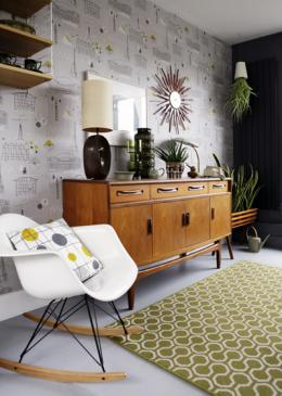Mark Hampshire Make Me A Rug: Quirky B Honeycomb Moss (7112) with whipped edge lifestyle shot 3