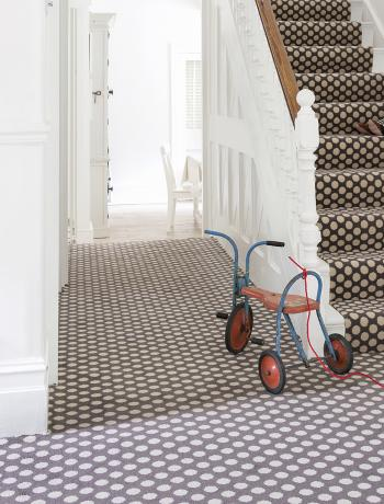 Floor Gazing Hallway - Quirky B Spotty Grey patterned hallway and stair carpet