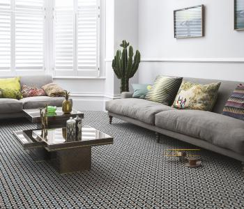 Floor Gazing Lounge - Quirky B Shuttle Silas by Margo Selby patterned carpet