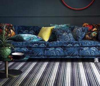Floor Gazing Lounge - Quirky B Button Black carpet by Margo Selby
