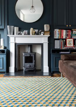 Lucy Gough Make Me A Rug: Quirky B Ben Pentreath Designs Quirky B Cube Soane (7244) with whipped edge lifestyle shot 3