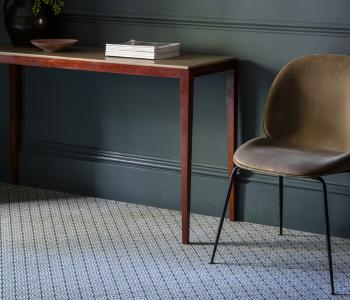 Floor Gazing Home Office - Quirky B Geo Duck Egg patterned axminster carpet