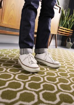 Mark Hampshire Make Me A Rug: Quirky B Honeycomb Moss (7112) with whipped edge lifestyle shot 4