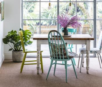 Floor Gazing Dining Room - Anywhere Rope Natural faux carpet