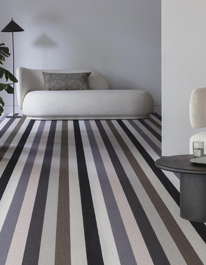 Patterned Crafted Carpets - play with geometrics, floral, stripes, dots and herringbones. British AND packed with personality.