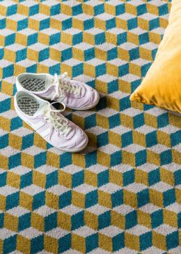 Lucy Gough Make Me A Rug: Quirky B Ben Pentreath Designs Quirky B Cube Soane (7244) with whipped edge lifestyle shot 2