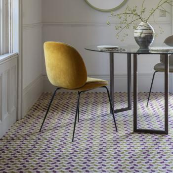 Floor Gazing Dining Room - Quirky B Ribbon Magenta patterned carpet by Margo Selby