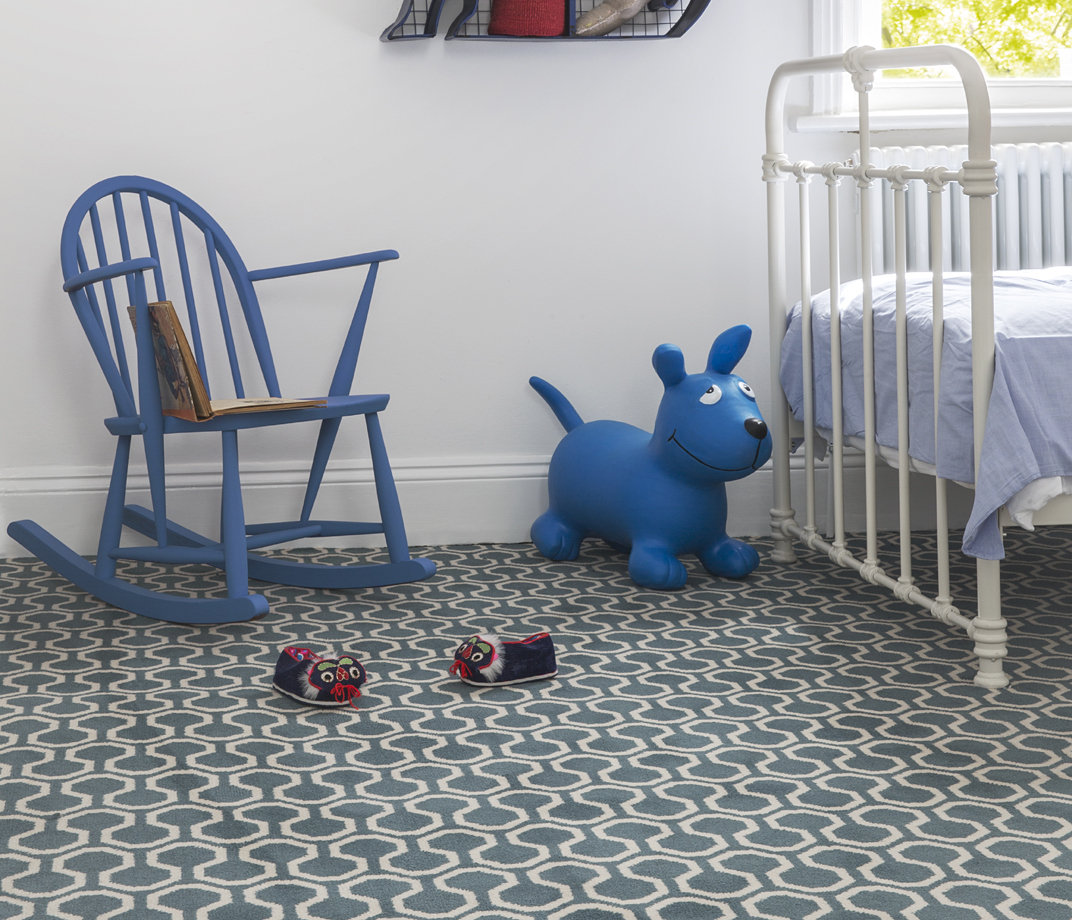 Quirky B Honeycomb Duck Egg Carpet 7110 lifestyle